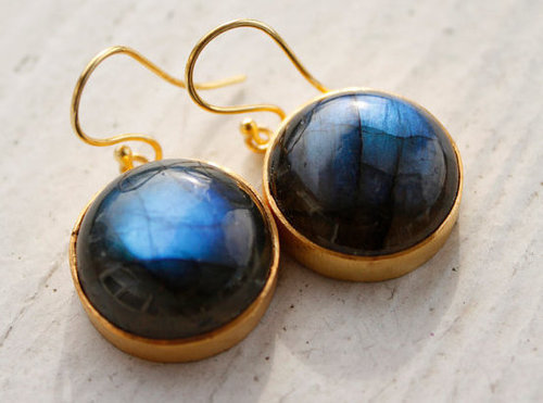 925 sterling Silver Bezel Set Labradorite Gemstone Tangling Earring-Gold Vermeil