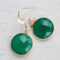 925 sterling Silver Bezel Set Green Onyx Gemstone Tanglin Earring-Gold Vermeil