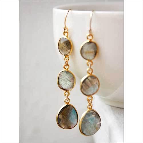 925 sterling Silver Bezel Set Labradorite Gemstone Tanglin Earring-Gold Vermeil