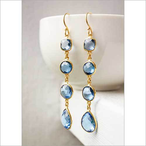 925 sterling Silver Bezel Set  Gemstone Blue Topaz Tanglin Earring-Gold Vermeil