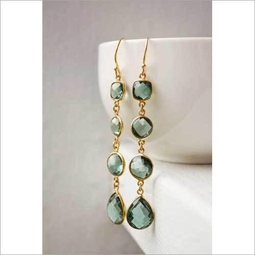 925 sterling Silver Bezel Set Hydro Green Turmaline Gemstone  Earring-Gold Vermeil