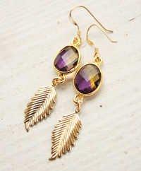 925 sterling Silver Bezel Set Hydro Amethyst Gemstone Tanglin Earring-Gold Vermeil