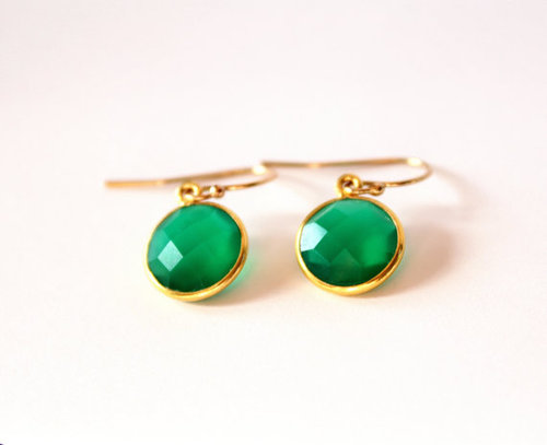 925 sterling Silver Bezel Set Green Onyx Gemstone Tanglin Earring-Gold Vermeil