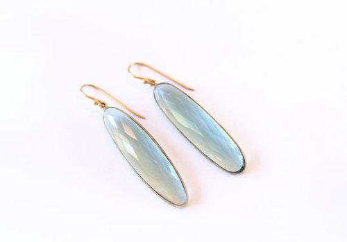925 sterling Silver Bezel Set Aqua Chalcedony Gemstone Tanglin Earring-Gold Vermeil
