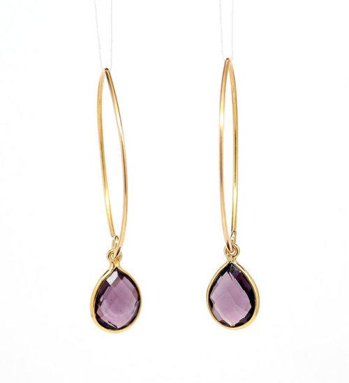 925 sterling Silver Bezel Set  Amethyst Gemstone Tanglin Earring-Gold Vermeil