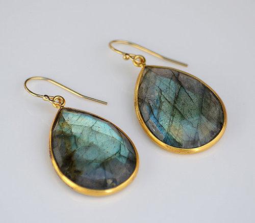 925 Silver Sterling Labradorite Earring Vermeil