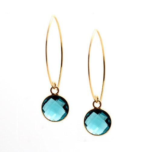 Landon Blue Topaz Gemstone Tanglin Earring-Gold Vermeil