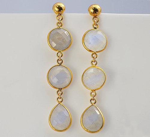 925 sterling Silver Bezel Rainbow Moonstone Gemstone Earring-Gold Vermeil