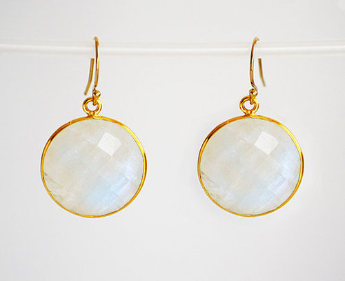 Set Rainbow Moonstone Gemstone Tanglin Earring-Gold Vermeil