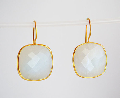 Set Rainbow Moonstone Gemstone Tanglin Earring-Gold Vermeil