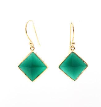 925 sterling Silver Bezel Set  Green Onyx Gemstone  Earring-Gold Vermeil