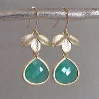 925 sterling Silver Bezel  Green Onyx Gemstone  Earring-Gold Vermeil