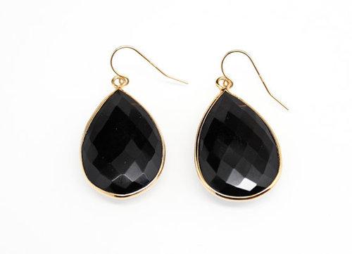 925 sterling Silver Bezel  Black onyx Gemstone Earring-Gold Vermeil