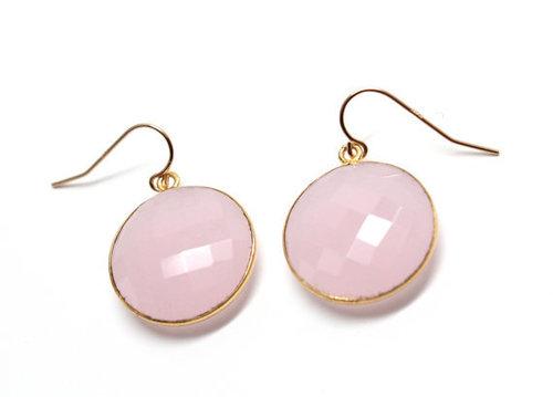 925 sterling Silver Bezel Set  Pink Chalcedony Gemstone  Earring-Gold Vermeil