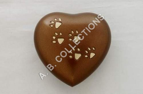 BRASS HEART WITH PAW PRINT