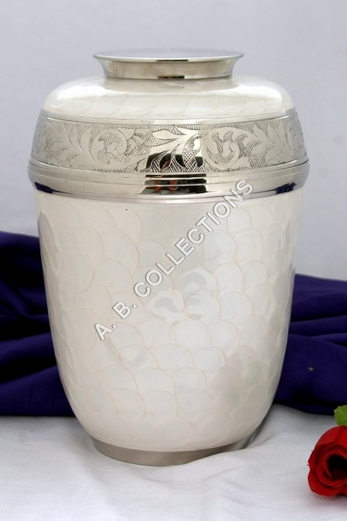 WHITE ENAMELED  CREMATION URN