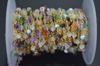 Multi Color 3-4mm Faceted Rondelle Gemstone Beaded Chain