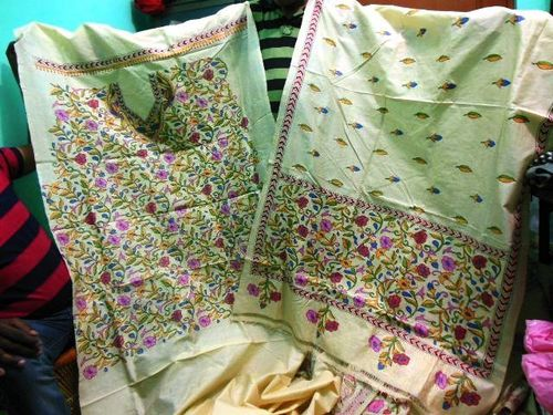 Kantha work silk suits