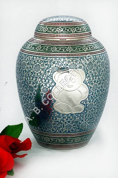 IRON PET URN NICKEL EMBOSSED TEDDY BEAR