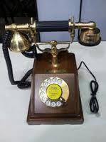 Brass wood telephone