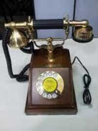 Brass wood telephone