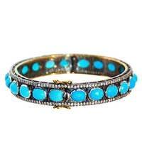 Turquoise Diamond Gold Bangle