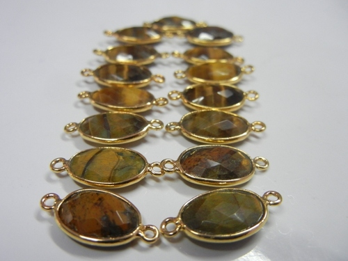 Gold Plated Tiger Eye Gemstone Connector