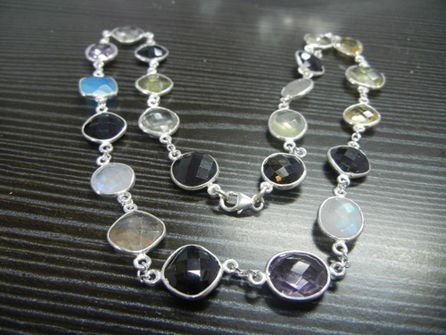 Multi Stone Bezel Set Sterling Silver Necklace