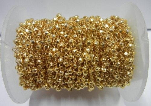 Golden Pyrite Gemstone Beaded Chain Sell Per Meter