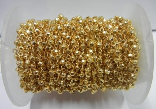 Golden Pyrite Gemstone Beaded Chain Sell Per Meter