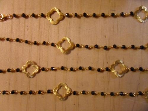 Black Onyx Beaded Chain With Gold Quatrefoils