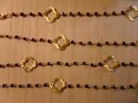 Black Onyx Beaded Chain With Gold Quatrefoils
