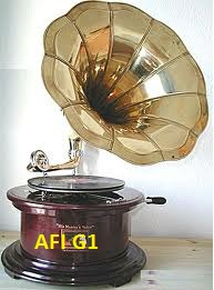 Square Gramophone with Big Brass Horn