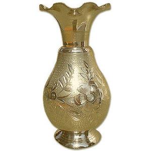 Carved Flower Brass Vase