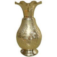 Carved Flower Brass Vase