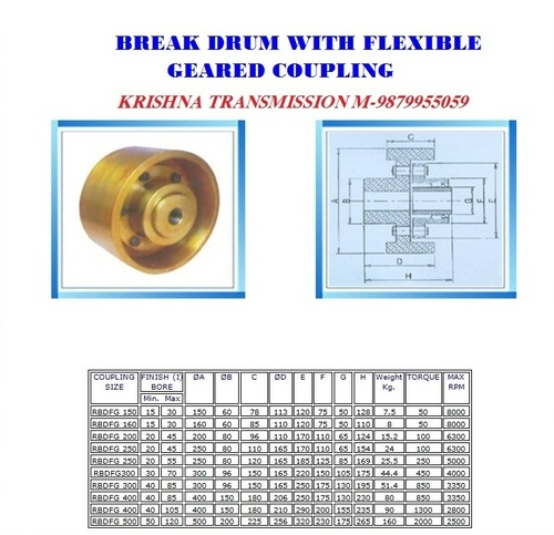 Flexible Brake Drum Gear Coupling