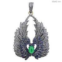 Blue Sapphire Emerald Gold Pendant