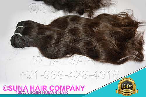straight natural machine weft human hair extension