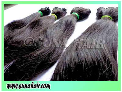 Silky straight brazilian 100% machine weft natural virgin human hair