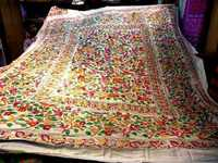 Kantha work bed cover with 2 cushions
