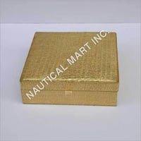 GOLDEN LEATHER WOODEN JEWELRY BOX