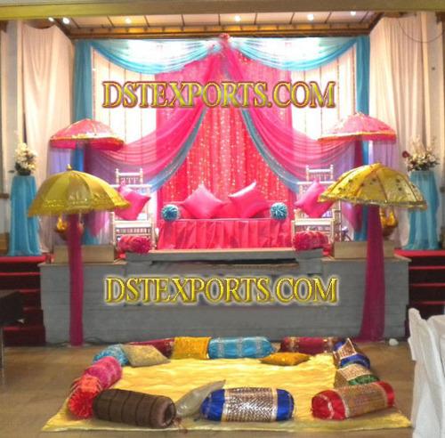 ASIAN WEDDING COLOURFUL MEHANDI STAGE SET