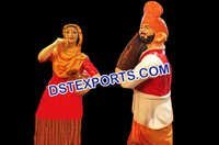 FRP Punjabi Dancing Couple Statue