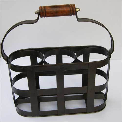 IRON BLACK RACK TABLE WINE BOTTLE HOLDER STAND
