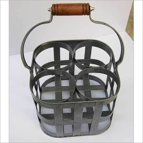 BEAUTIFUL IRON GREY RACK TABLE WINE BOTTLE HOLDER STAND