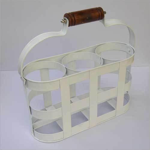 DECORATIVE BOXED IRON RACK TABLE WINE BOTTLE HOLDER STAND