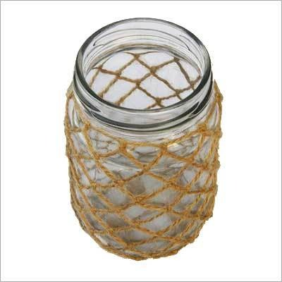 NICE CANDLE LANTERN HOLDER GLASS JAR JUTE HANDMADE HOME DECOR
