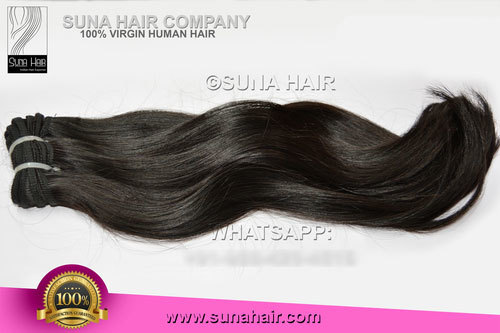 Silky straight weft virgin natural remy human hair
