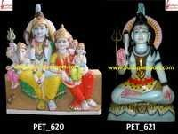 White Marble Lord Shiva and Family Statue