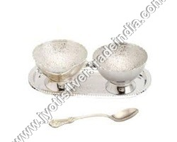 Silver Ice Cream Cup Set